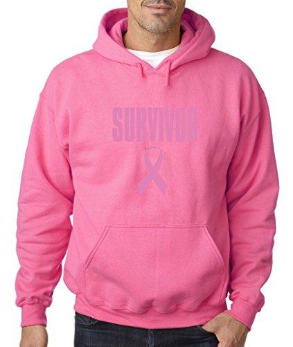 Survivor Pink Ribbon Hoodie Breast Cancer Awareness Sweatshirt 3XL Safety Pink b2 (Pink Ribbon Survivor Sweatshirt)