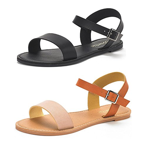 DREAM PAIRS Women's Hoboo-New Cute Open Toes One Band Ankle Strap Flexible Summer Flat Sandals 2 Pairs All Black and Nude Tan Size 8.5 ()