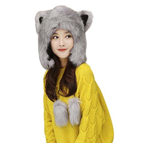 Cute Furry Animal Costumes (Women Ladies Cartoon Cute Animal Full Hood Hats Earflap Skull Caps Winter Thermal Cozy Furry Fancy Dress Party Halloween Cosplay Costume Headwear Beanies, Xmas Birthday Gift)