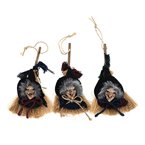 - SUPVOX 3Pcs Witch Broom Mini Witch Pendants Witches Broomstick Halloween Witch Broom Halloween Broom Pendant