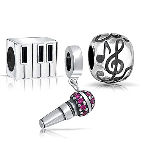Bling Jewelry Sterling Silver Microphone Piano Music Note Bead Set Fits Pandora - Piano Clef Note