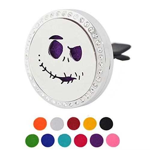 Car Air Freshener Aromatherapy Essential Oil Diffuser, Halloween Skull Ghost Face Rhinestones Stainless Steel Locket,11 Refill Pads for $<!--$13.50-->