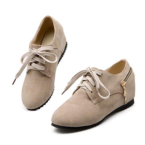 Beige Heighten BalaMasa Shoes Bandage Flats Suede Ladies Zipper Inside 77Owq6x8