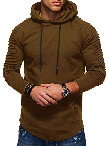 Nicetage Men's Round Neck Slim Solid Color Striped Pleated Raglan Sleeve Hooded Long Sleeve T-Shirt (HS80-Man Khaki M) ()