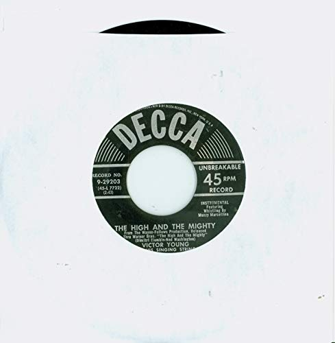 The High And The Mighty | Moonlight And Roses - Victor Young And His Singing Strings (Decca Records 1954) Near-Mint (7 out of 10) - Vintage 45 RPM Vinyl Record