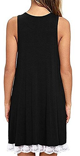 Trim Fit Womens Lace Loose Sleeveless Line Cromoncent A Tunic Dress Black Crewneck qXatgwwAx