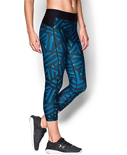 Under Armour Women's HeatGear Armour Printed Capri, Water (464), X-Small