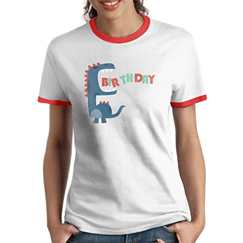 MiiyarHome Women's Ringer T-Shirt Dinosaur Movie, Ladies Tee Short Sleeves Teen Girls Jersey Shirt Red - Dinosaur T-shirt Ringer