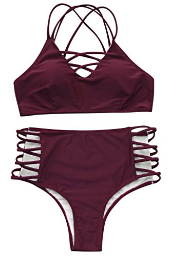 - Seaselfie Women's High Waisted Push Up Cross Padding Bikini Bathing Suit, L Wine Red