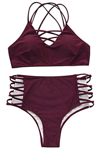 Seaselfie Women's High Waisted Push Up Cross Padding Bikini Bathing Suit, Wine Red, Medium