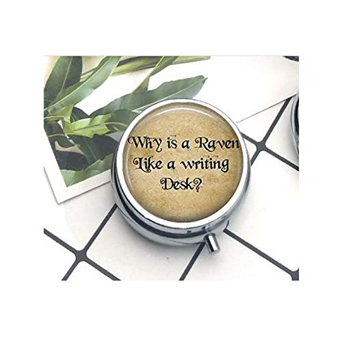 Why is A Raven Like A Writing Desk Mad Hatter Quote Art Pendant The Pill Box/Pill case Literary Jewelry