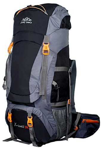 MOUNT TRACK X-Trail Hiking 90 Litres Rucksack with Front Opening and Rain Cover (Black)