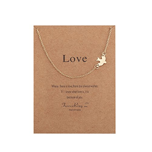 Dove Pendant - ForeveRing Z Message Card Best Love Dove Necklace Bird Choker Woman Jewelry