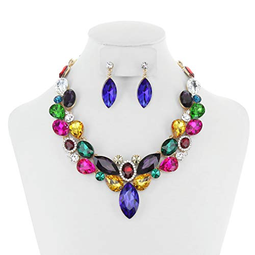 (SP Sophia Collection Stunning Round Collar with Attached Cluster Pendant and Teardrop Earrings Jewelry Set for Women in Multi Color)