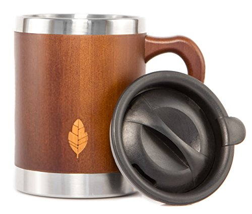 MyHomeIdeas Stainless Steel Bamboo Mug with Lid and Handle - Natural Wood Wooden Light Coffee Tea Mug - Non-breakable Design - 100% Eco And Environmentally Safe - 13.5 oz - Walnut