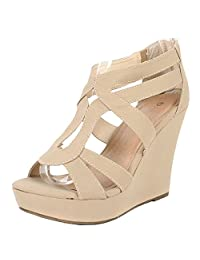 Lindy 03 Strappy Open Toe Platform Wedge