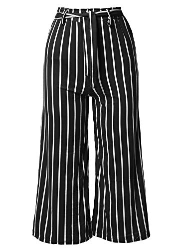 (Awesome21 Casual Tie Waist Culottes Capri Length Pants Black M)