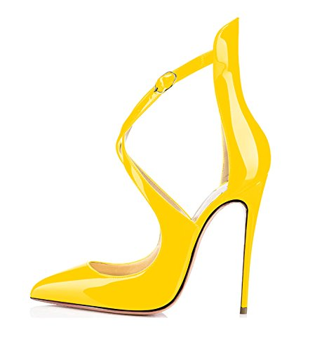 Sammitop Women's Pointed Toe Pumps Ankle Strap Stiletto Heel Dress Shoes Yellow Shoes US11