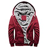 BHYDRY Fashion Mens Hoodie Winter Warm Fleece Zipper Sweater Solid Jacket Cotton Outwear Coat(XXXXL,Red)