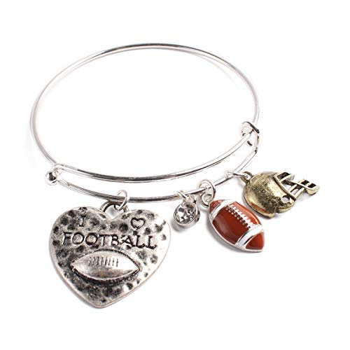 MYS Collection Sports Charm Adjustable Wired Bangle Bracelet - Game Day Team Wire Cuff Softball, Soccer, Football, Mom Pendant ()