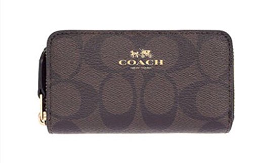 Coach Signature Double Zip Coin Case Brown/Black F63975