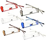 Reading Glasses 2.50 | 6 Pack Flexible Rimless Readers with Case for Men and Women [6 Pack, 2.50]