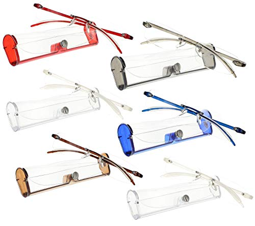 Reading Glasses 1.50 | 6 Pack Flexible Rimless Readers with Case for Men and Women [6 Pack, ()