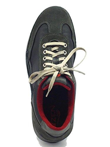 Zen Schuhe Typ Sport Leder blau und grau Shark Blu Grigio