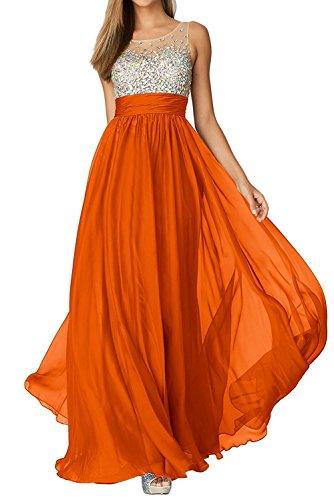 Abendkleider Dunkel mia Tanzenkleider La Steine Partykleider Damen Lang Orange Kleider Jugendweihe Chiffon Braut Rosa wUng1