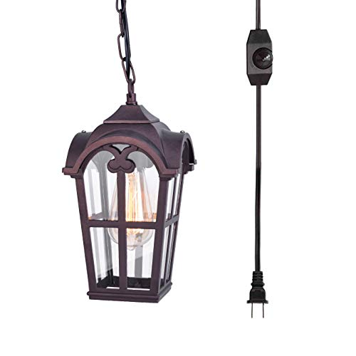 Transparent Antique (Stepeak Retro Style Plug-in Dimmable On/Off Switch Pendant Light, Swag Industrial Antique Lartern Rust Bronze Finish Porch Lamp with Transparent Glass)