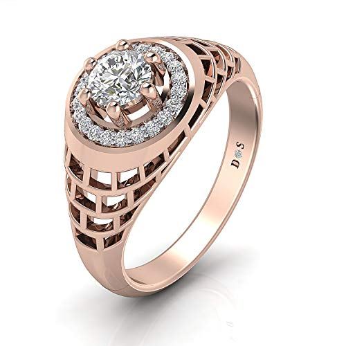 14K Gold with 0.40 Carats Lattice crown couple solitaire ring for him - RM1316
