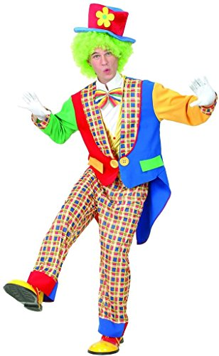 YOU LOOK UGLY TODAY Men's Humorous Multicolored CLOWN (W/WIG, NO NOSE)Halloween Party Costume for Adult (Male Costume Halloween)