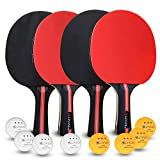 LIVLYF Ping Pong Paddle Set - 4 Premium 7 Ply Wood Racket, 8 Table Tennis Balls Bundle, Portable Travel Storage Bag - Professional Game Play - Unbeatable Control, Spin, Speed - Top Sports Kit