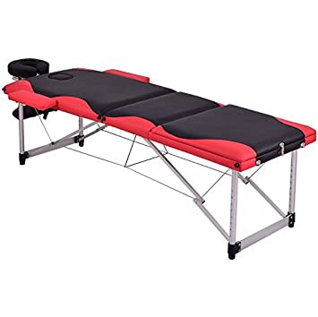 Black And Red 72u0026quot;L Portable Massage Table Heavy Duty Aluminum Frame  Salon SPA Chair