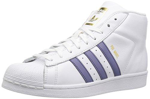 adidas Originals Girls' PRO Model J Running Shoe, White/Super Purple/Metallic Gold, 6.5 Medium US Big Kid (Adidas Pro Model Originals)