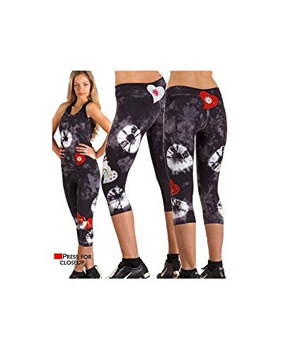 Margarita Activewear Hearts and Studs Fitted Capri 51065T (White Batik/Red Hearts, Size 3)