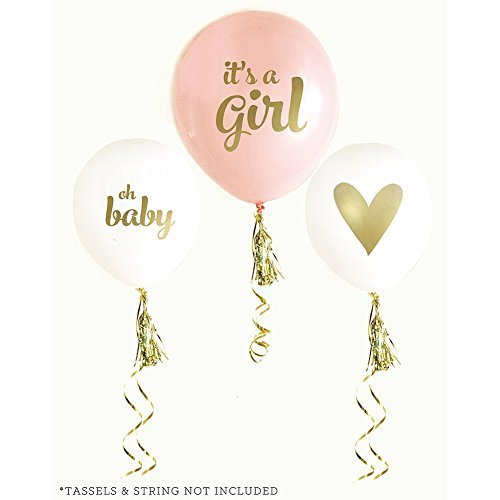 Gold Girl Baby Shower Balloons (set of 3) (Baby Shower Balloon Decorations)
