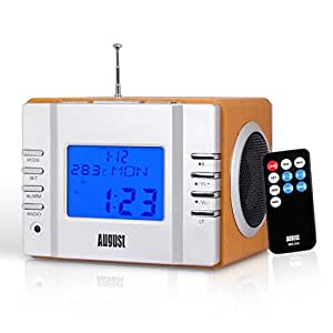August MB300 Mini Wooden MP3 Stereo System and FM Clock Radio, with Card Reader, USB Port & AUX Jack (3.5mm Audio In), 2 x 3W Powerful Hi-Fi Speakers and Built-in Rechargeable Battery