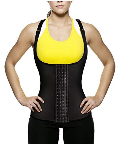 Ursexyly Women's Waist Trainer Tank Top Slimming Vest Tummy Fat Burner (Black Waist Trainer, 2XL) ()