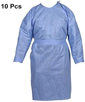 20pcs Non-Woven Anti-Fog Anti-Particle FluidResistant Impervious 20 Pcs Disposable Isolation Gown with Elastic Wrists Gown Suits Indoor Outdoor Coveralls for Men Women Late X- Free