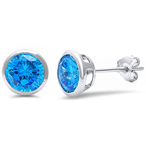 Sterling Silver Bezel Set Round Simulated Gemstone Earrings 6mm Push Backing (Simulated Aqua)
