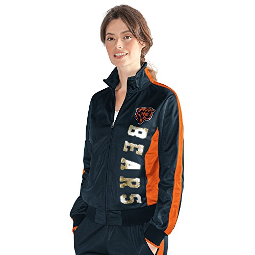 NFL Chicago Bears Women's Drop Back Track Jacket, Large, Navy Chicago Bears Jacket