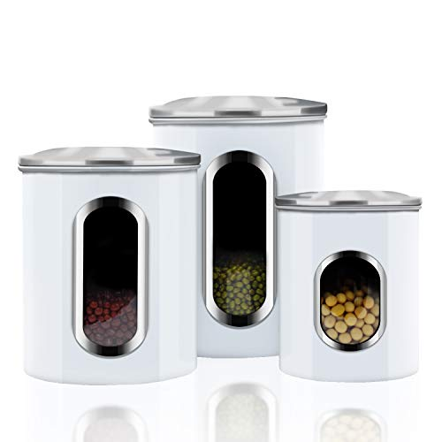 Canisters Sets,3 Piece Window Kitchen Canister with Fingerprint Resistance Lids, - Set Canister White