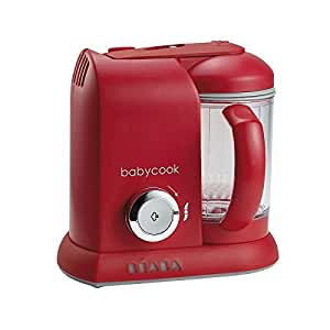 BEABA Babycook 4 in 1 Steam Cooker and Blender, 4.5 cups, Dishwasher Safe, Cherry