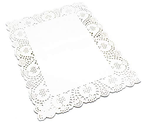 100 Pcs White Rectangle Lace Paper Doilies Placemats for Wedding Tea Party and Baking, 16x12 Inch ()