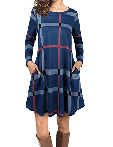 Faddare Pockets Casual Swing Loose T-Shirt Dresses,Ladies Checkered Dress,Blue Grey Pink ()