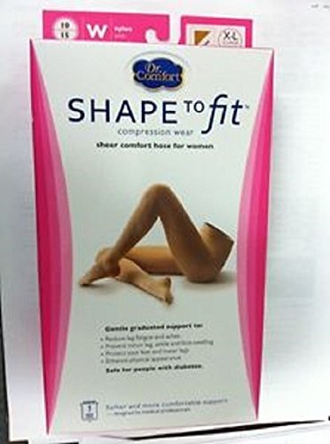 Dr. Comfort Shape to Fit Sheer Comfort Pantyhose 20-30 mmHg for Women (XL, - To Fit Shape