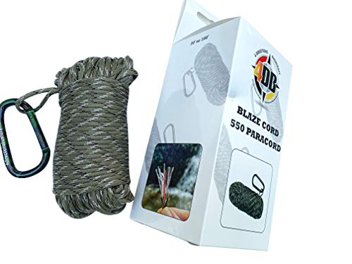 4 Directions Bushcraft 550 Blaze Cord 550 Paracord Integrated with Survival Monofilament Fishing Line & Our Blaze (Waterproof) Fire Tinder Core (50)