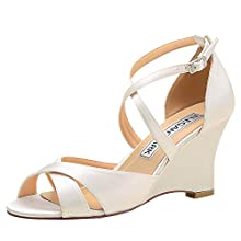 ElegantPark WP1908 Women Peep Toe High Heel Bridal Wedding Shoes Wedges Satin Cross Straps Evening Party Sandals Ivory US 7