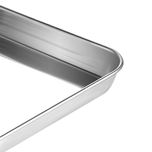 Stainless Steel Baking Sheets with Rack, HKJ Chef Cookie Sheets and Nonstick Cooling Rack & Baking Pans for Oven & Toaster Oven Tray Pans, Rectangle Size 12L x 11W x 1H inch & Non Toxic & Healthy by HKJ Chef (Image #5)